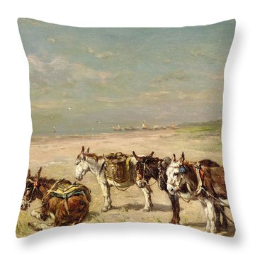 Donkeys On The Beach Throw Pillow by Johannes Hubertus Leonardus de Haas