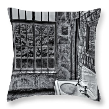 Dormer Bathroom Side View Bw Throw Pillow by Susan Candelario