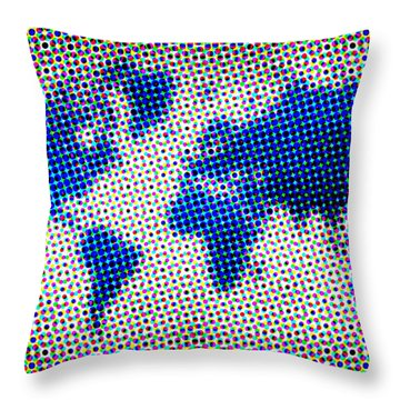 Dotted Blue World Map Throw Pillow by Naxart Studio