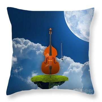 Double Bass Throw Pillow by Marvin Blaine