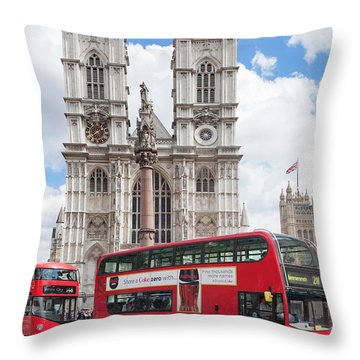 Double-decker Buses Passing Throw Pillow by Panoramic Images