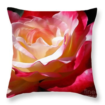 Double Delight Rose Throw Pillow by Kaye Menner