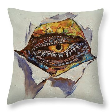 Dragon Eye Throw Pillow by Michael Creese