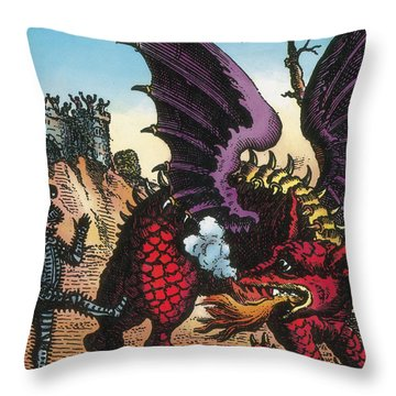 Dragon Of Wantley, 16th Century Throw Pillow by Photo Researchers