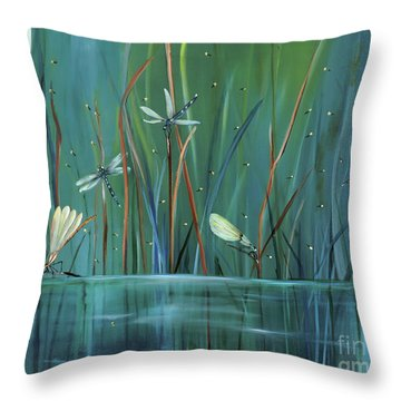 Dragonfly Diner Throw Pillow by Carol Sweetwood