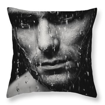 Dramatic Portrait Of Man Wet Face Black And White Throw Pillow by Oleksiy Maksymenko