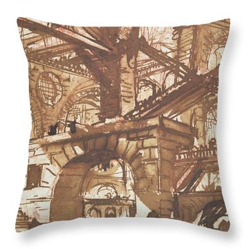 Drawing Of An Imaginary Prison Throw Pillow by Giovanni Battista Piranesi