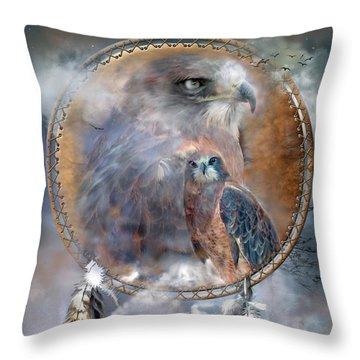 Dream Catcher - Hawk Spirit Throw Pillow by Carol Cavalaris