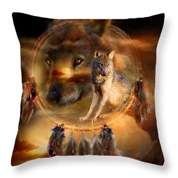 Dream Catcher - Wolfland Throw Pillow by Carol Cavalaris