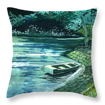 Dream Lake Throw Pillow by Anil Nene