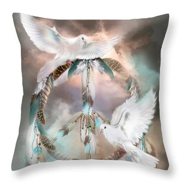 Dreams Of Peace Throw Pillow by Carol Cavalaris