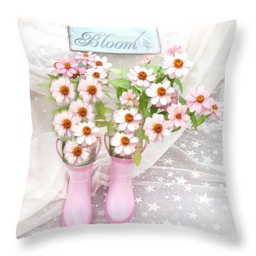 Dreamy Cottage Garden Art - Shabby Chic Pink Flowers Garden Bloom With Pink Rain Boots Throw Pillow by Kathy Fornal