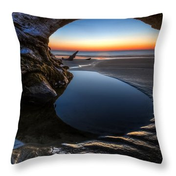 Driftwood Pools Throw Pillow by Debra and Dave Vanderlaan