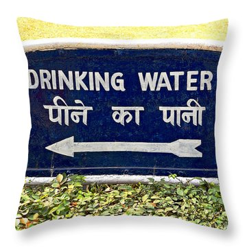 Drinking Water Sign Throw Pillow by Ethna Gillespie
