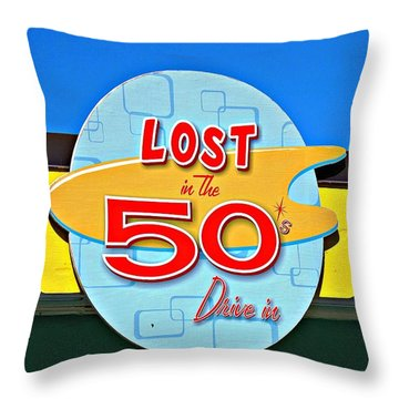 Drive-in Diner Sign				 Throw Pillow by Ethna Gillespie