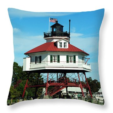 Drum Point Lighthouse Throw Pillow by Rebecca Sherman