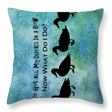 Ducks In A Row Throw Pillow by Jenny Armitage