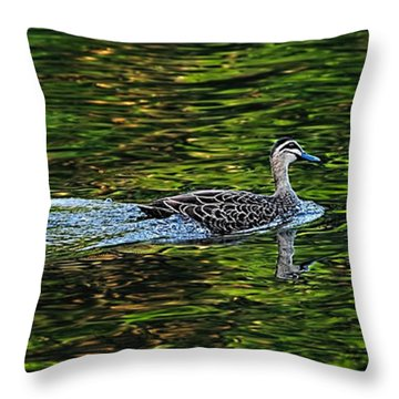 Ducks On Green Reflections - Panorama Throw Pillow by Kaye Menner
