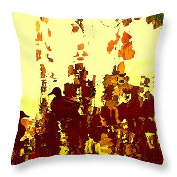 Ducks On Red Lake 2 Throw Pillow by Amy Vangsgard