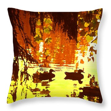 Ducks On Red Lake Throw Pillow by Amy Vangsgard
