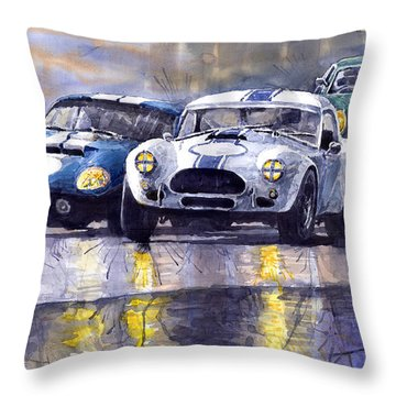 Duel Ac Cobra And Shelby Daytona Coupe 1965 Throw Pillow by Yuriy  Shevchuk