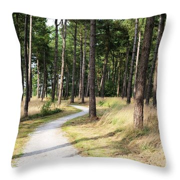 Dutch Country Bicycle Path Throw Pillow by Carol Groenen