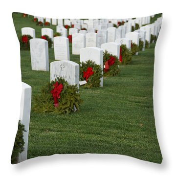 Eagle Point National Cemetery At Christmas Throw Pillow by Mick Anderson