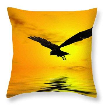 Eagle Sunset Throw Pillow by John Edwards