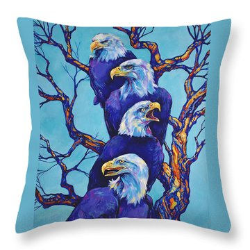 Eagle Tree Throw Pillow by Derrick Higgins