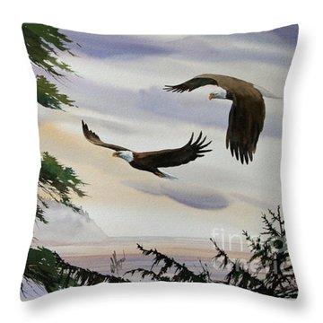 Eagles Romance Throw Pillow by James Williamson
