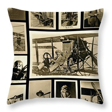 Earlier Aviators Throw Pillow by Gwyn Newcombe