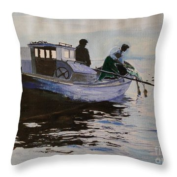 Early Gillnetter At Work Throw Pillow by Bill Hubbard