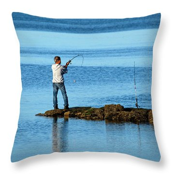 Early Morning Fishing Throw Pillow by Karol Livote