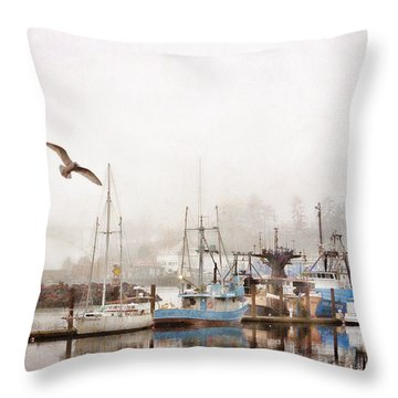 Early Morning Newport Oregon Throw Pillow by Carol Leigh