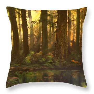 Early Morning Sun On Cannock Chase Throw Pillow by Jean Walker