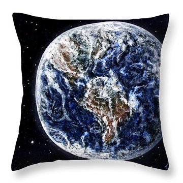 Earth Beauty Original Acrylic Painting Throw Pillow by Georgeta Blanaru