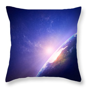 Earth Sunrise In Foggy Space Throw Pillow by Johan Swanepoel