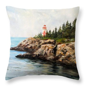 East Quoddy Head Light Throw Pillow by Lee Piper
