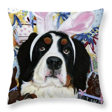 Easter Berner Bunny Duties Throw Pillow by Liane Weyers