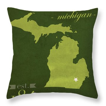 Eastern Michigan University Eagles Ypsilanti College Town State Map Poster Series No 035 Throw Pillow by Design Turnpike
