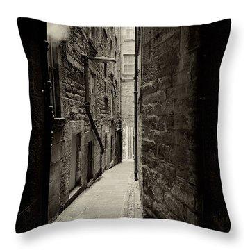 Edinburgh Alley Sepia Throw Pillow by Jane Rix
