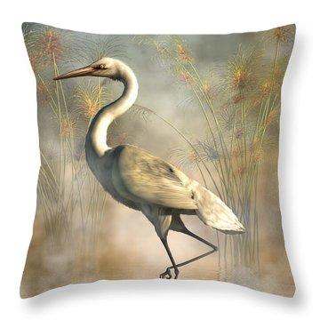 Egret Throw Pillow by Daniel Eskridge