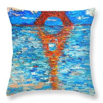 Eiffel Tower Abstract Impression Throw Pillow by Ana Maria Edulescu