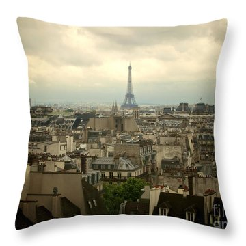 Eiffel Tower And Roofs Of Paris. France.europe. Throw Pillow by Bernard Jaubert