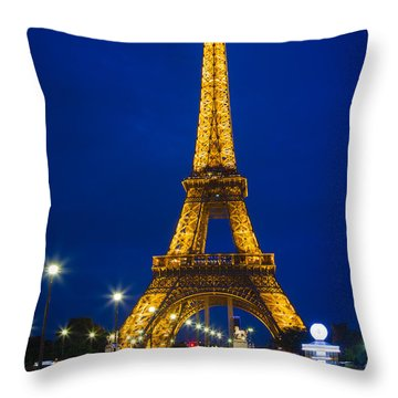 Eiffel Tower By Night Throw Pillow by Inge Johnsson