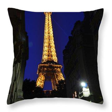 Eiffel Tower Paris France At Night Throw Pillow by Patricia Awapara