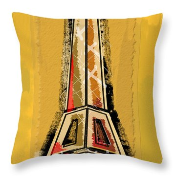 Eiffel Tower Yellow And Red Throw Pillow by Robyn Saunders