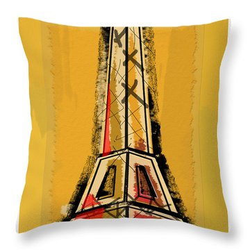 Eiffel Tower Yellow Black And Red Throw Pillow by Robyn Saunders
