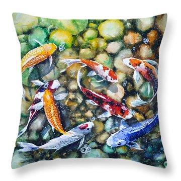 Eight Koi Fish Playing With Bubbles Throw Pillow by Zaira Dzhaubaeva