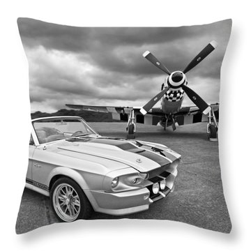 Eleanor Mustang With P51 Black And White Throw Pillow by Gill Billington